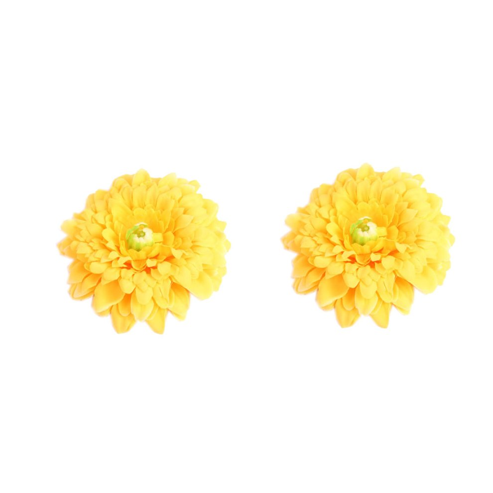 Set Of 2 Bohemian Style Yellow Flower Hair Pins Straw Hat Applique