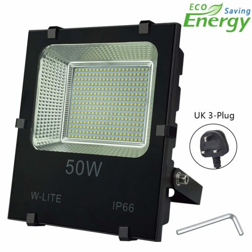 50w Led Garden Flood Lights Outdoor Waterproof Floodlight With Uk 3 Plug Upgraded Work Light Super Bright 250 4500lm Soft Daylight
