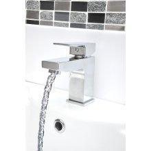 Square Basin Sink Tap Luxury Chrome Bathroom Mixer Faucet