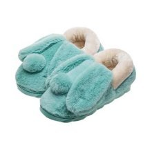Cute Cartoon Rabbit Plush Slippers Winter Warm Indoor Slippers for Women,GREEN