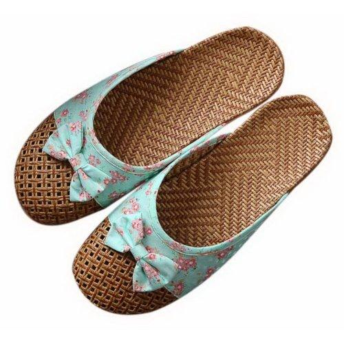 Flipped Linen Slippers Indoor/Outdoor Non-slip Grass Weavon Slippers, Light Blue