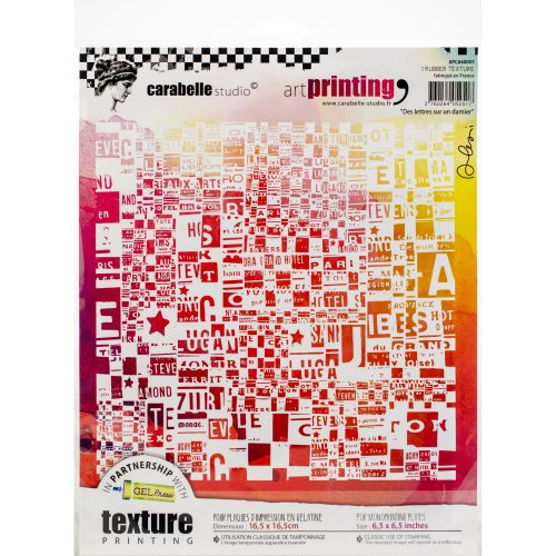 Carabelle Studio Art Printing Square Rubber Texture Plate-Letters On A Checkerboard