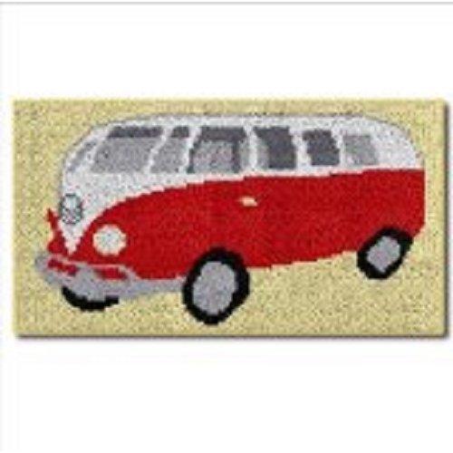 """Latch Hook Kit""""VW Red Camper Van"""" 41x74cm"""