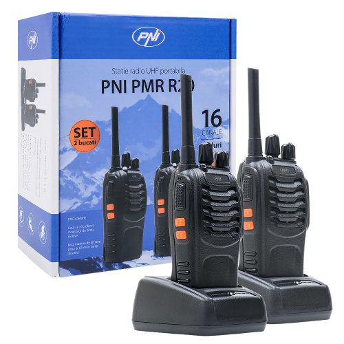 Portable UHF radio station PMR R20 set with 2bc accumulators, chargers and headphones included