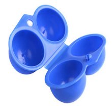Set of 2Foldable Blue Plastic Kitchen Egg Boxes/Egg Trays Two