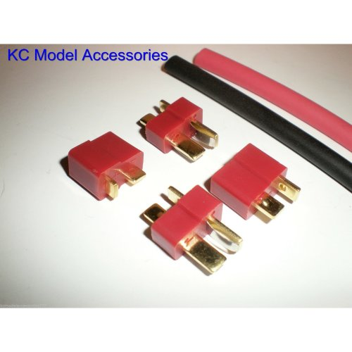 Deans T-Plug Connectors x 2 Pairs With Heat Shrink
