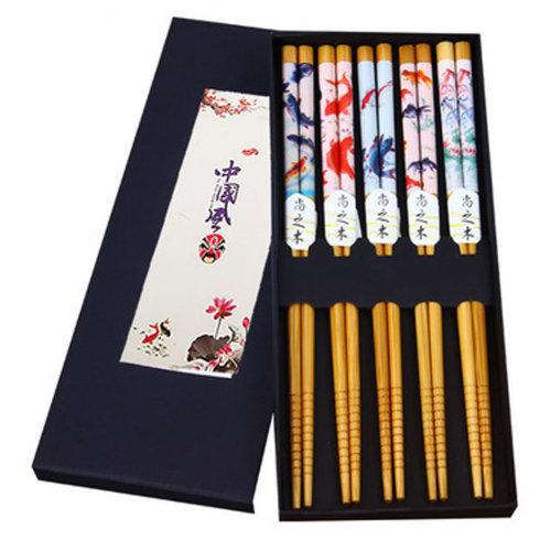Chopsticks Reusable Set - Asian-style Natural Wooden Chop Stick Set with Case as Present Gift,#4