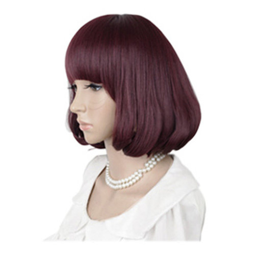 High Quality Fashion Sweet Lady Wig Short Hair Natural Bob Wine Red+Wig Cap+Comb