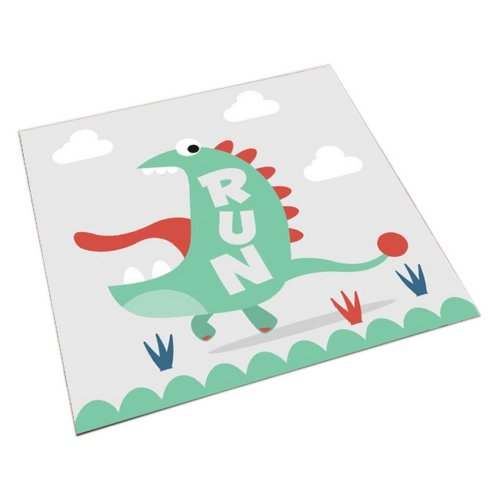 Square Cute Cartoon Children's Rugs, White And Big Mouth Cartoon Dinosaur