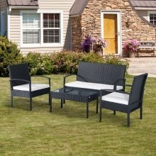 Outsunny 4pc Black Garden Furniture Set | Rattan Outdoor Seating Set