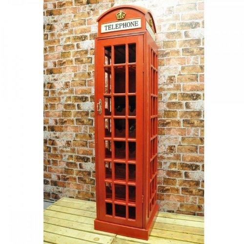 Large Retro Red Unique Telephone Box Cafe Restaurant Wine Cabinet