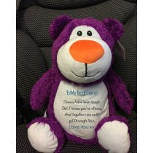 Soft Purple Teddy Bear Personalised Embroidery Message Name/Birth Date