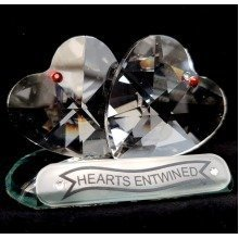Cut Crystal Hearts Entwined Romantic Valentine Gift Ornament