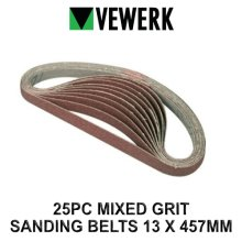VEWERK 25 Mixed Grit Sanding Belts 13mm x 457mm 60 80 100 120 Grit