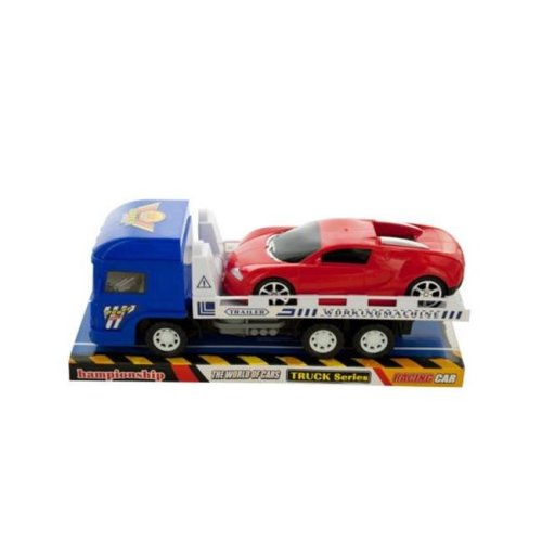 Kole Imports KL228-8 12 x 3.75 in. Friction Trailer Truck with Race Car Set, Pack of 8