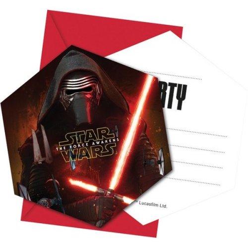 Unique Party 6 Star Wars Episode Vii Die-cut Invitations & Envelopes - Force -  star wars party force awakens invitations birthday 6 vii envelopes