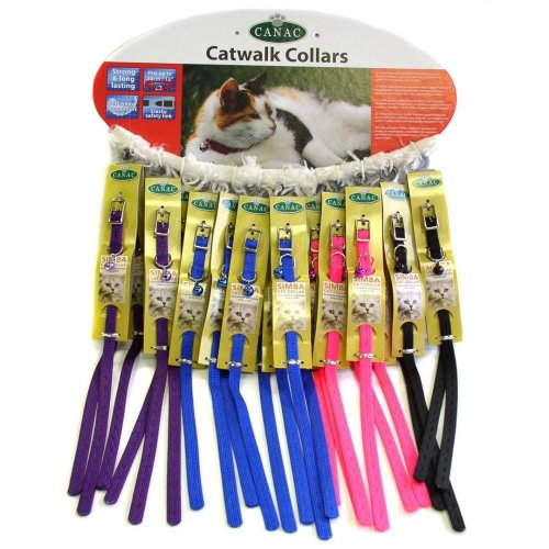 Canac Cat Walk Cat Collar Card Of 24 Assorted (Pack of 24)