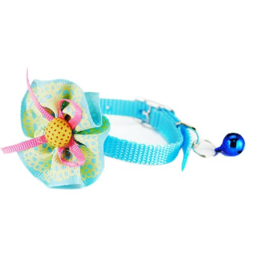 Sunflower Decorated with Little Bell Collar for Cat BLUE(Fit 17~28cm Neck)