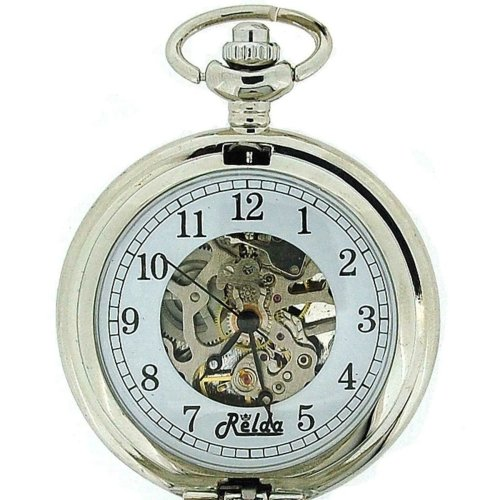 """Men's Relda Mechanical Skeleton Pocket Watch With 12"""" Chain - Silver Tone"""