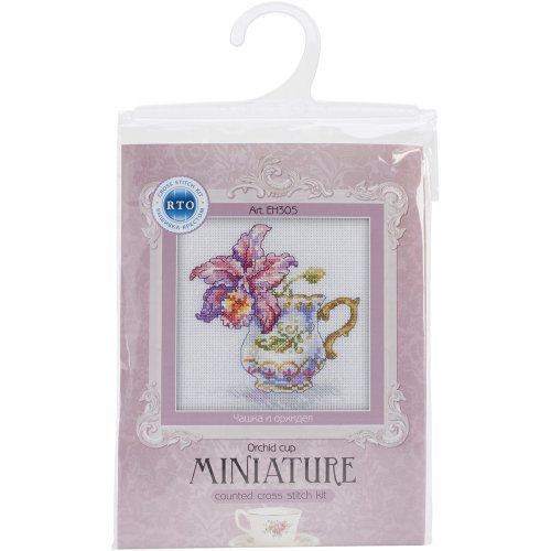 """Orchid Tea Party Counted Cross Stitch Kit-4.75""""X4.75"""" 14 Count"""