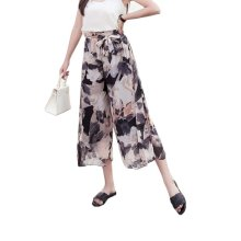 Elegant Summer Thin Pants Floral Print Women Loose Slacks Beach Clothing, #01