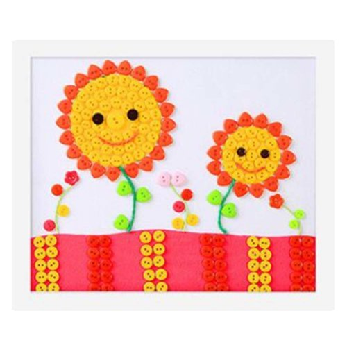 Cute Sunflower DIY Button Painting Mosaic Craft for Kids