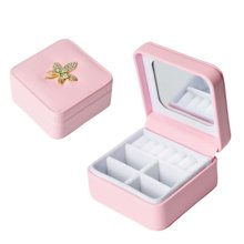 Jewelry Box Rings Earrings Necklace Organizer Display Storage Case with Rhinestone for Travel, C