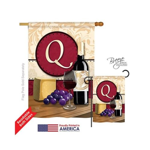 Breeze Decor 30225 Wine Q Monogram 2-Sided Vertical Impression House Flag - 28 x 40 in.