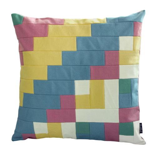[Hot Summer] Handmade Canvas Decorative Pillow Unique Grid Cushion 48cm