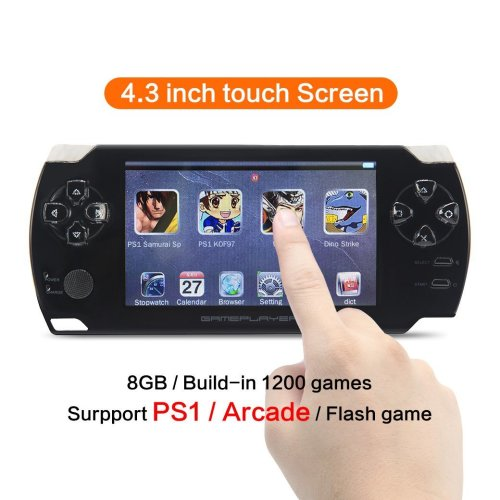 CZT 4.3 inch touch screen 8GB Handheld Game Console Video Game Console build in 1200 no-repeat game for PS1/Arcad/flash/gba/fc/gbc/smd/sfc MP3/4...