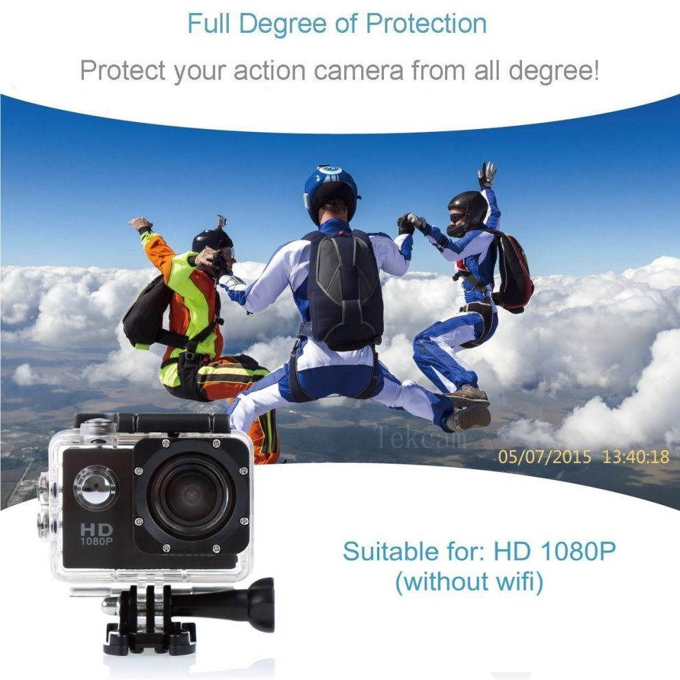 TEKCAM Professional SJ4000 WIFI Waterproof Case Protective Housing for  AKASO EK7000/APEMAN/Victure/ ODRVM 4K Waterproof Sport Action Camera