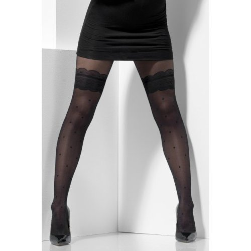 Smiffy's 44444 Fever Sheer Tights Costume (one Size) -  tights sheer fancy dress mock hold up ladies womens black hosiery accessory polka dot adults
