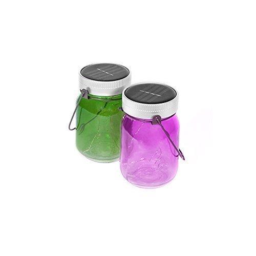Thumbs Up Uk Outdoor Solar Powered Fairy Light Jars, Purple/green, Set Of 2 -  fairy jars 2 solar powered set thumbs up uk outdoor light purplegreen