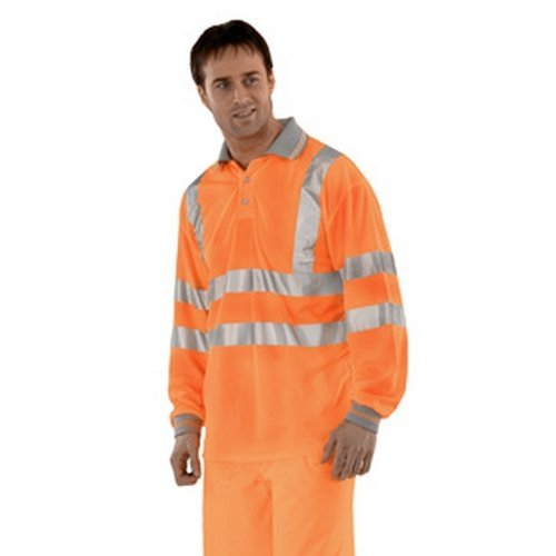 Click BPKSLSENORXXL Hi Viz Orange Polo Shirt Long Sleeve EN471 XXL