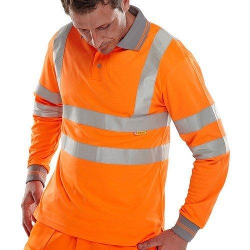 Click BPKSLSENORS Hi Viz Orange Polo Shirt Long Sleeve Small