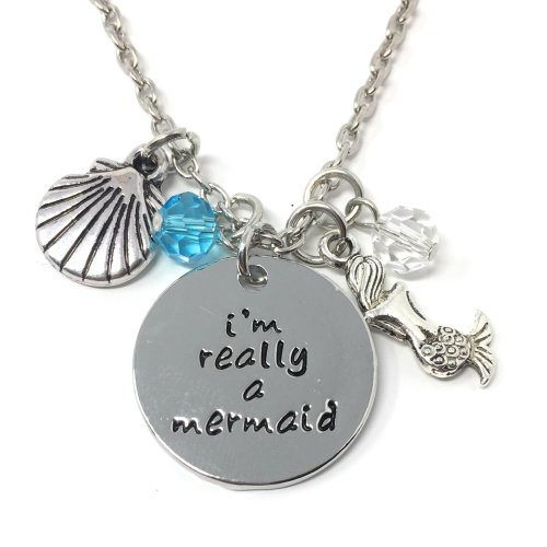 Silver-Tone 'I'm Really A Mermaid' Engraved Pendant Necklace 2.5 x 2.5cm With 18 Inch Chain Charm The Little