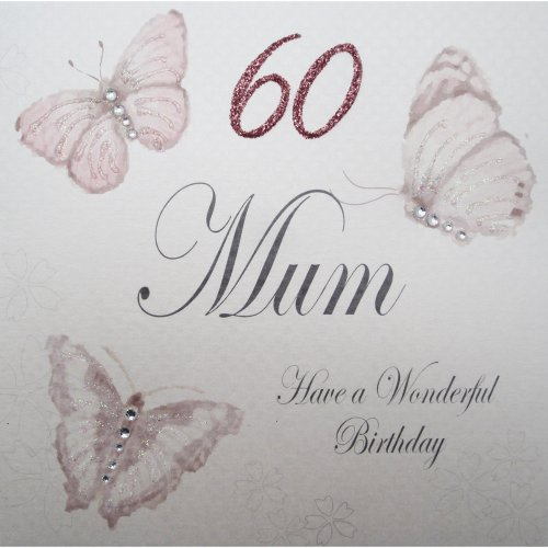 WHITE COTTON CARDS Handmade 60 Mum Have A Wonderful Birthday Vintage Butterflies 60th Card White On OnBuy
