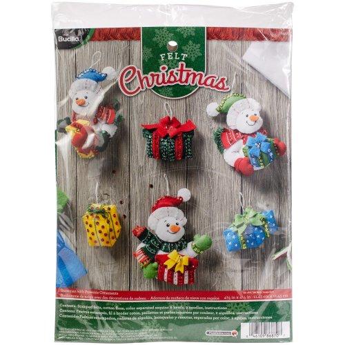 """Bucilla Felt Ornaments Applique Kit 4.5""""X4.5"""" Set of 6-Snowmen W/Presents"""