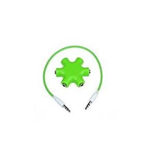TheFlyingWhopper 6-Way 3.5mm Stereo Audio Headset Hub Splitter. Green.