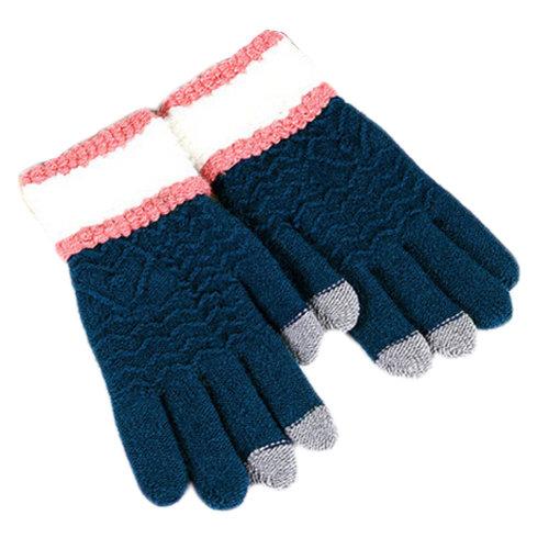 Women Touch Screen Winter Gloves Knitting Full Finger Gloves, Cyan