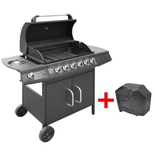 vidaXL Gas Barbecue Grill 6+1 Burners Black