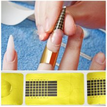 TRIXES 100 X Gold Nail Forms Tip Sculpting Guide Stickers Salon Acrylic Gel
