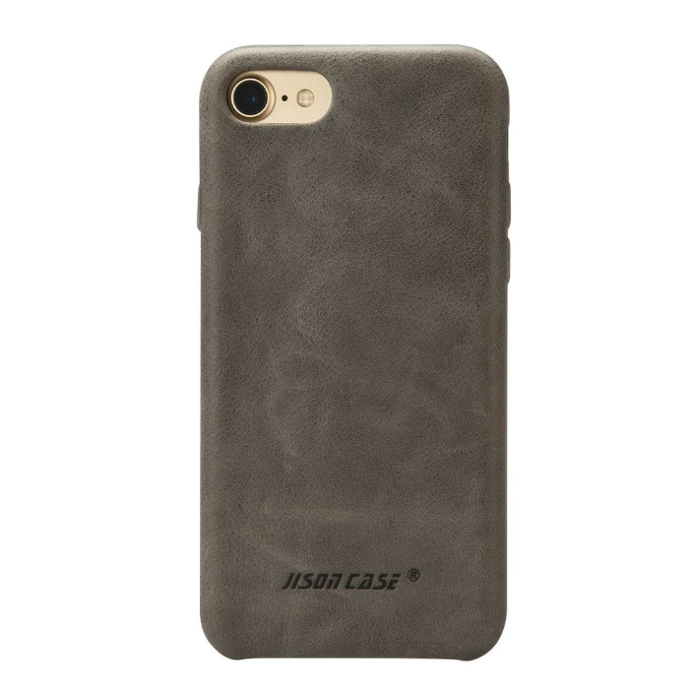 pretty nice 28a7e c56a1 iPhone 7 Case, Jisoncase Leather Back Slim Fit Snug Protective Cover Case  for Apple iPhone 7 4.7-inch Gray [Upgraded Version] JS-IP7-02A64