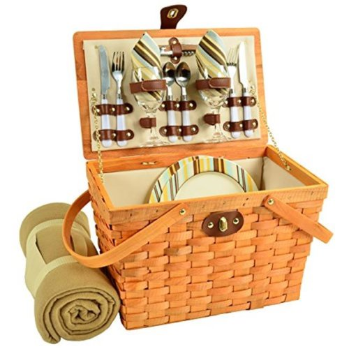 Picnic at Ascot 716HB-SC Frisco American Style Picnic Basket Equipped for 2 with Blanket - Santa Cruz