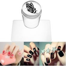 Silicone Clear Stamper Scraper Printer Kit Nail Art Manicure Tools DIY Design With Cap
