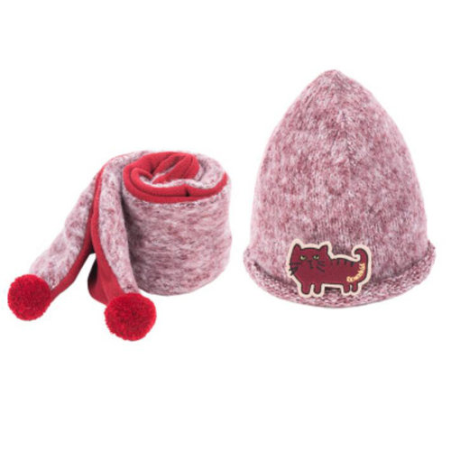 Kids Boys Girls Keep Warm Head Cap Lovely Hats Winter Wool Hat & Scarf -A2