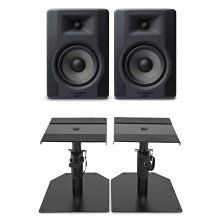 M-Audio BX5 D3 Studio Monitors - Pair And JB's Music Desktop Monitor Stands