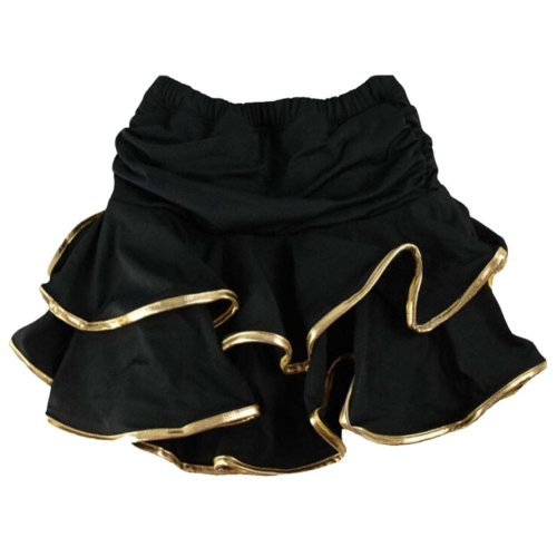 Asian M [Black&Gold Ruffle] Little Girls Latin Dance Skirt Soft Practice Dress