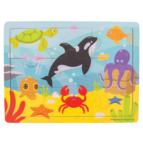 Bigjigs Toys Wooden Educational Tray Puzzle (Underwater) Chunky Wood Jigsaw