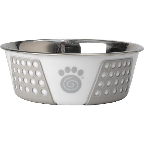 PetRageous Designs Stainless Steel Bowl - Holds 3.75 Cups-White/Gray